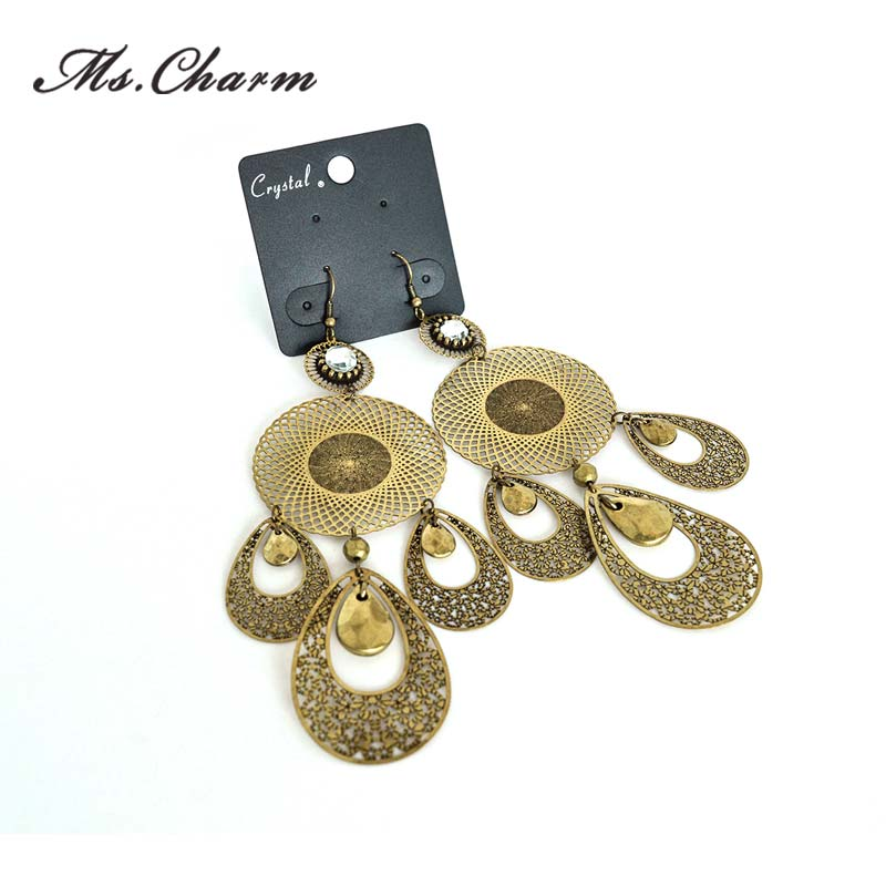 Crystal Long Statement Earrings Vintage Gold Plated Hollow