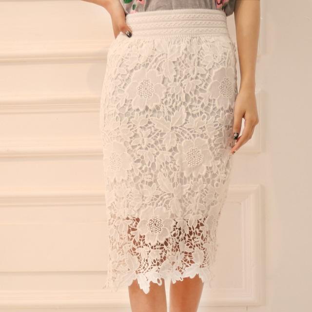 Оптовая продажа высокое качество 2015 новых мужчин кружева юбка платье-линии выдалбливают белый черная юбка до колен Большой размер S-3XL бесплатная доставка