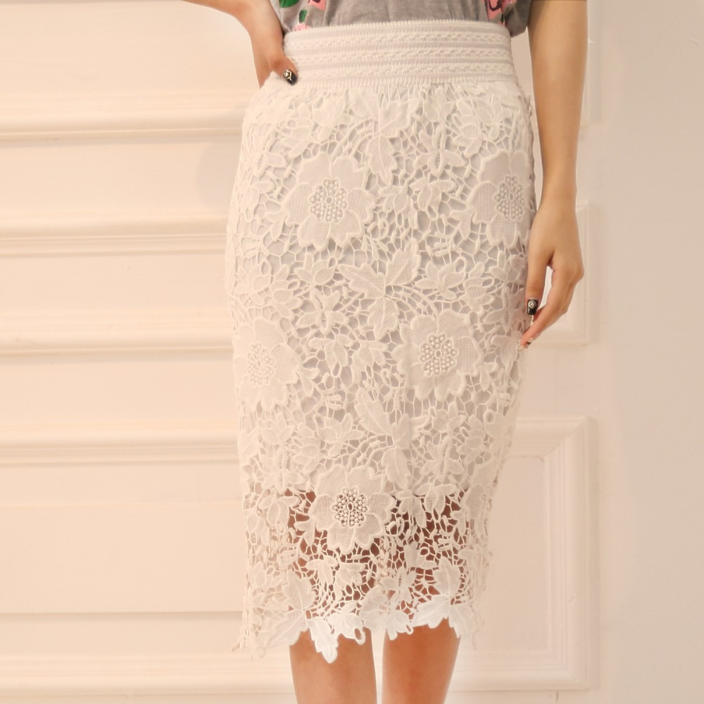 Wholesale High Quality 2015 New Women Lace Skirt A-Line Hollow Out White Black SKirt Knee Length Plus SIze S-3XL Free Shipping