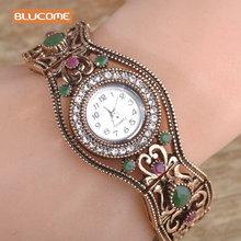 Blucome Brand Turkish Bracelet Watches Anti Gold Plated Women Vintage Bracelets Bangles Clock Relojes Mujer Hollow Wrist Joias(China (Mainland))