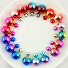 10 Pairs/lot Mix Colors Hot Style Double Side Earrings Fashion Jewelry Two Bead Double Pearl Stud Earring for Women(China (Mainland))