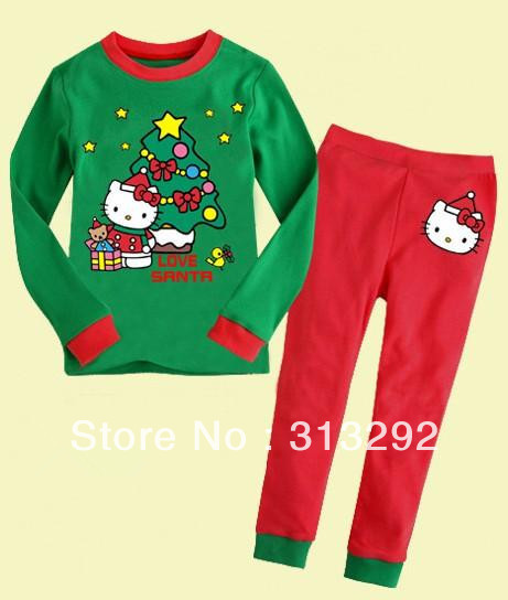 JQ-14, Hello Kitty , Children clothing sets, Pajamas,Sleepwear, 100% Cotton Jersey long sleeve sets for 2-7 year.<br><br>Aliexpress