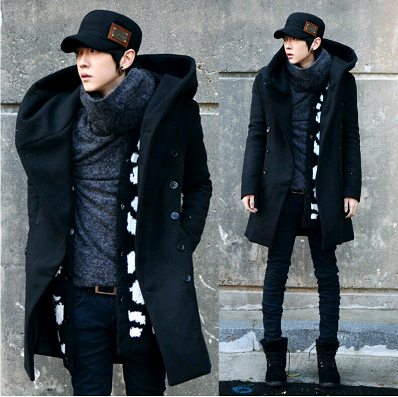 2014 Fashion Cheap Mens Pea Coat With Hood Double Breasted Long Wool Trench Coat Men Overcoat,Grey Black Navy Blue,Plus Size 3XLОдежда и ак�е��уары<br><br><br>Aliexpress