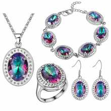 Free delivery of 2016 new fashion jewelry crystal jewelry lady suit 925 Silver Oval color crystal jewelry set wholesale(China (Mainland))