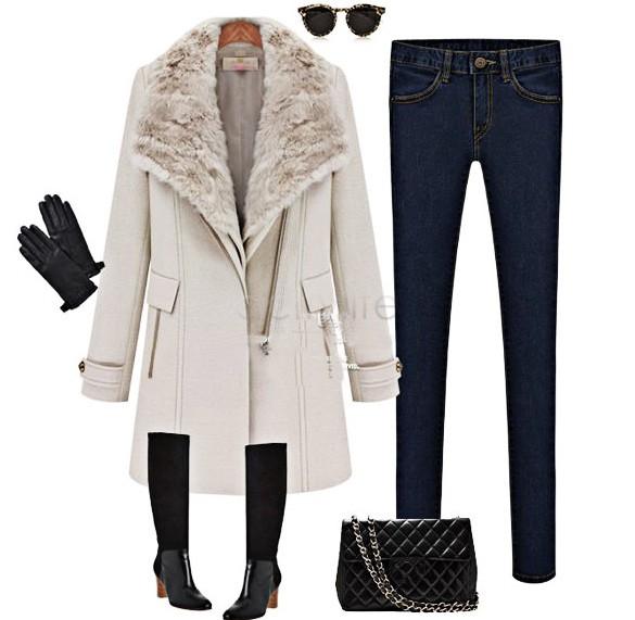 Promotion New Women Cashmere Fur Collar Outwear Winter Warm Wool Coat Personality Oblique Zipper Long Jacket Casual Trench B20