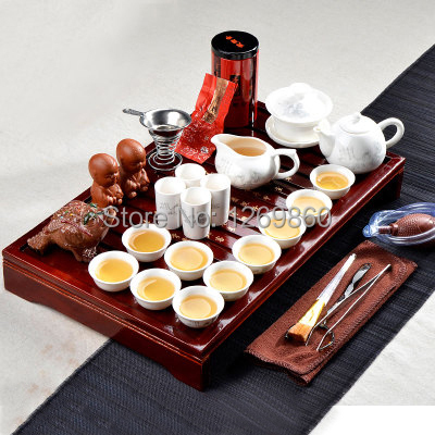 Drinkware bone china porcelain tea set purple white kung fu tea solid wood tea tray set