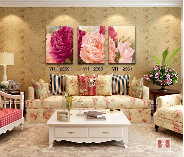 Free Shipping Hot Sale 3 Pieces Red And White Flowers Home