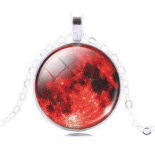 Glass Galaxy Cabochon Full Moon Necklace & Pendant Chain Necklace Hot Slae Jewelry For Fashion Women Men