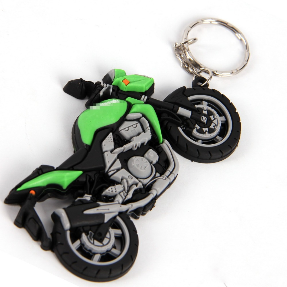 Free Shipping 3Style Cool Durable Rubber Motorcycle Keychain Key Ring Fit Kawasaki/Yamaha For Motocross Keyring Key Fob(China (Mainland))