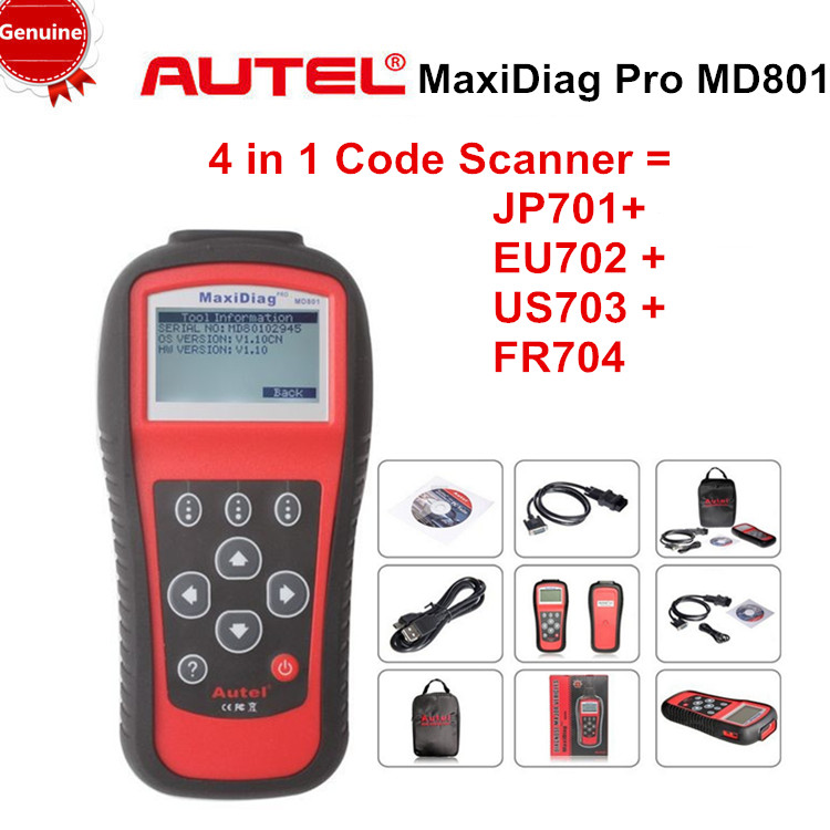 [Genuine]Autel Maxidiag MD801 code reader scanner for OBD1 OBDII protocol free shipping(China (Mainland))