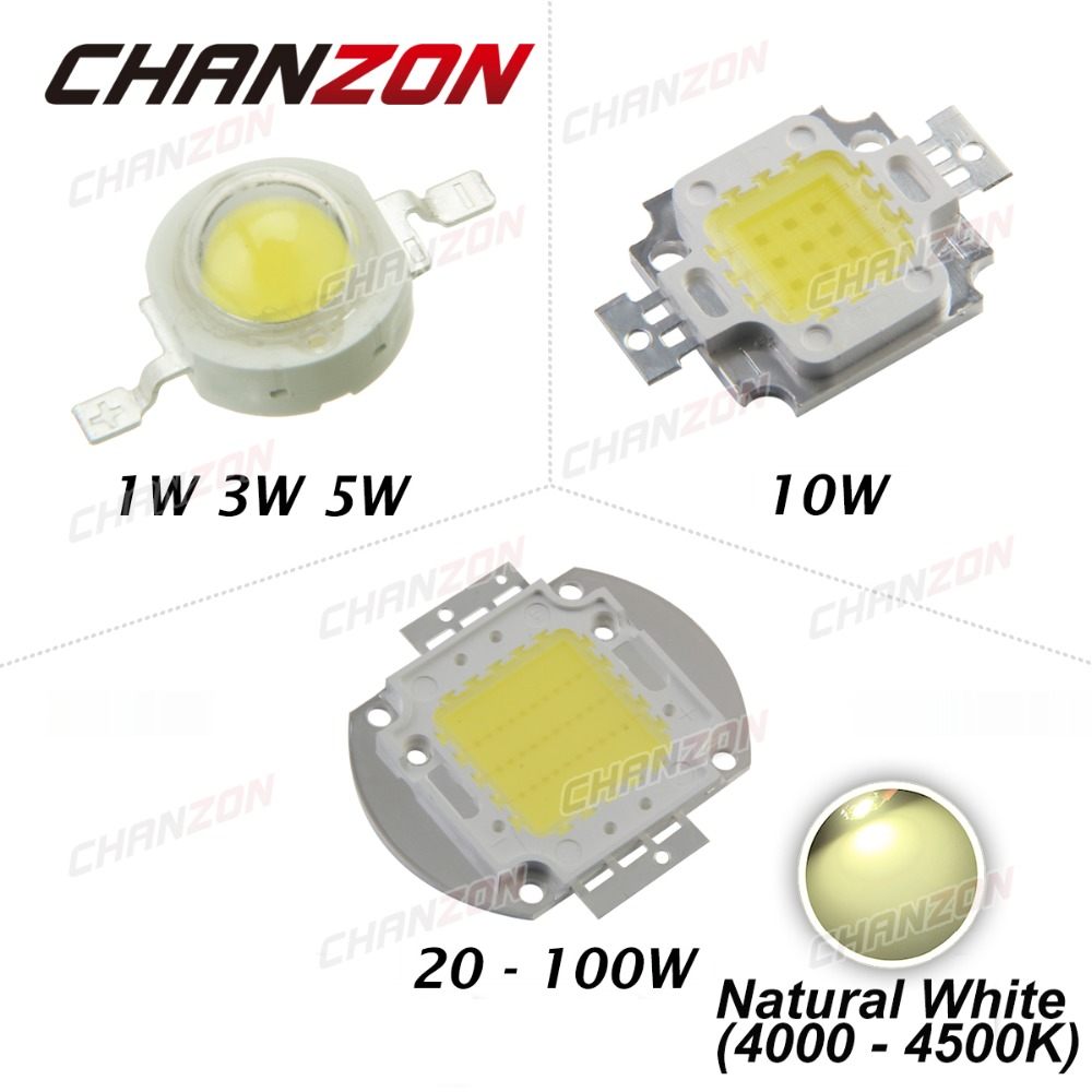 High Power LED Chip 1W 3W 5W 10W 20W 30W 50W 100W COB LED Beads Natural White 4000K - 4500K for DIY LED Floodlight Spotlight(China (Mainland))