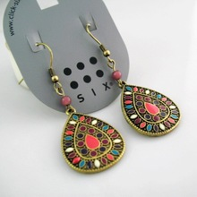 Utopia Brand Jewelry Bohemian style water drop Vintage Retro earrings 20 Style For Choise /#DJ078(China (Mainland))