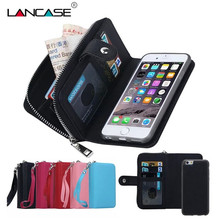 For iPhone 5S Case Magnetic 2 in 1 Zip Wallet Detachable Phone Bags Cover For iPhone 5 5S 6 6S Plus 7 7 Plus Strap Leather Case(Hong Kong)