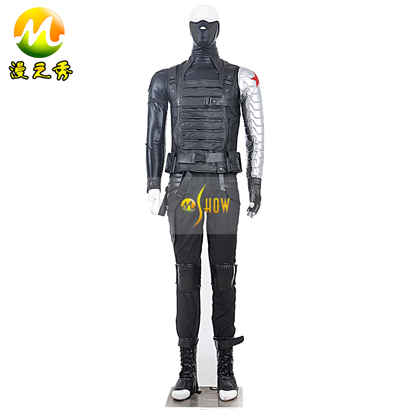 Captain America 2 Winter Soldier Cosplay James Buchanan Barnes Bucky Costume Halloween Carnival Party Outfit - M-Show Store store