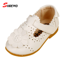 Shoes For Kids 2016 Autumn/Spring Fashion Flower Kids Shoes For Girl Leather Solid Hollow Casual Pretty Girls Shoes 9151Z(China (Mainland))