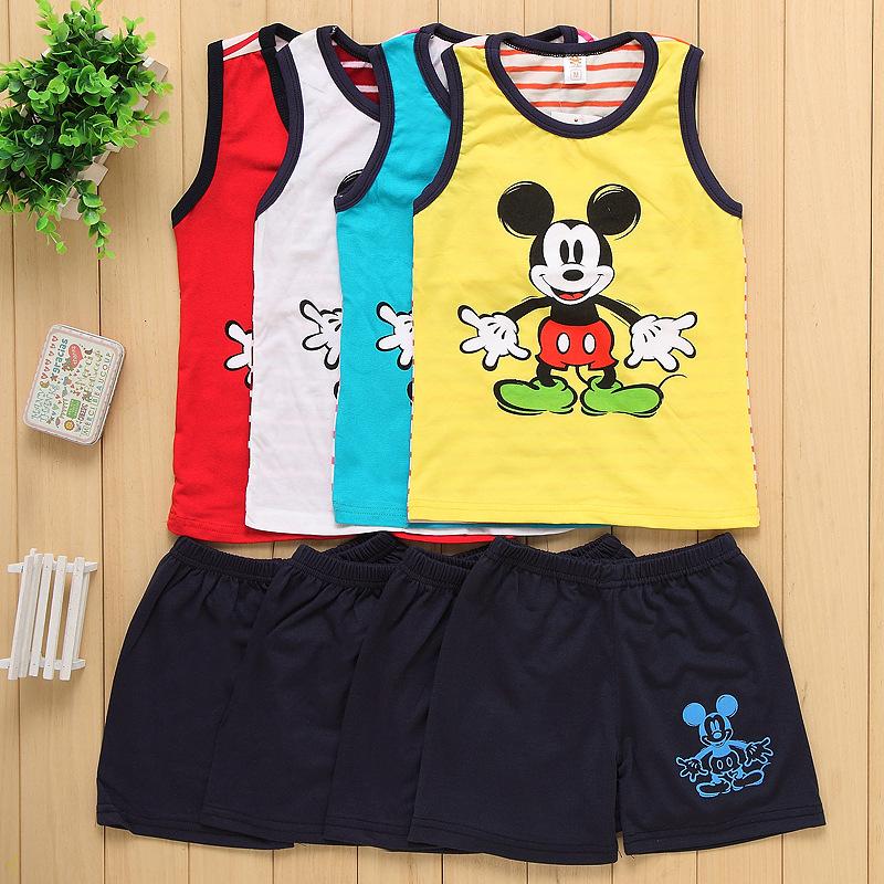 summer Kids Clothes Mickey cartoon sleeveles vest cotton Sports children Suit, boys pants+ vest T shirt Casual Boys Clothing Set(China (Mainland))