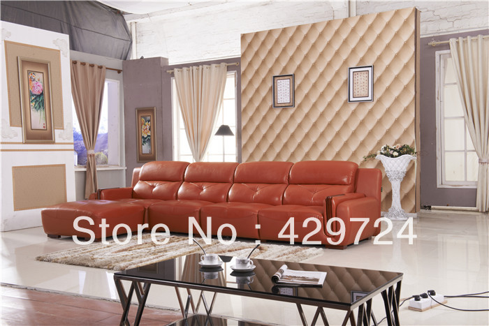 Free Shipping 2015 latest home designs Moden Top Grain leather Corner Sofa Set with Chaise Longue Best Leather Sofa Bed AA011(China (Mainland))