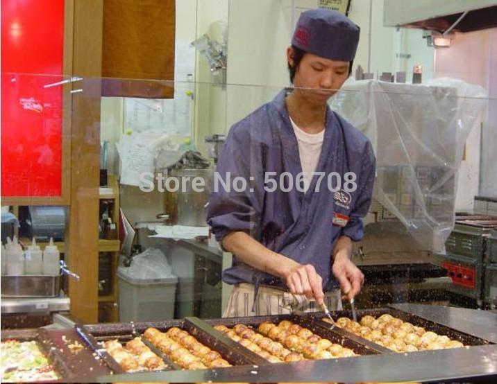 Free shipping Gas type 3 plate Takoyaki grill  Takoyaki maker Non-stick Cooking Surface