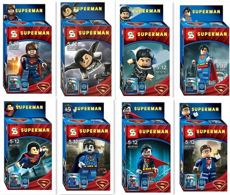 80pcs/lot SY187 Super Heroes Star Wars Alliance 8 design superman minifigures DIY construction brick block sets baby toys(China (Mainland))