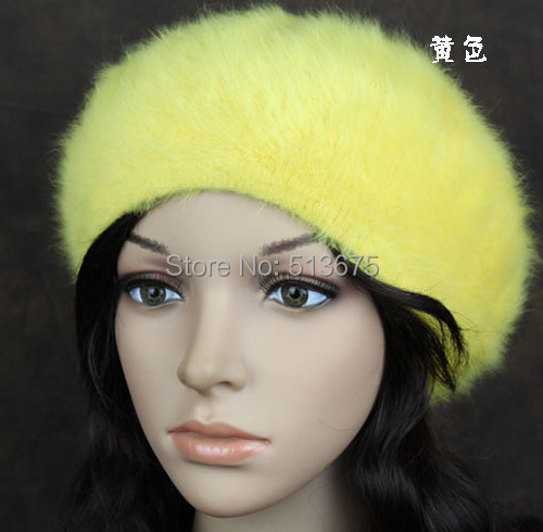 Free Shipping 2015 New Blue Yellow Pink luxury Angora blend Beret Hat Winter fashion fine woman beret Angora hats(China (Mainland))