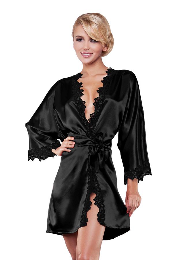 Luxury Women Silk Long Sleeve Nightwear Satin Dressing Gown Robe Deep V-Neck Lace Sleepwear