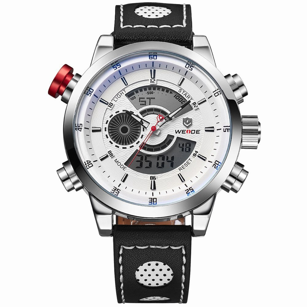 Здесь можно купить  WEIDE New Men Watch Genuine Leather Band Analog Digital Display Outdoor Military Watch Men Sport Watch relogio masculino  Часы
