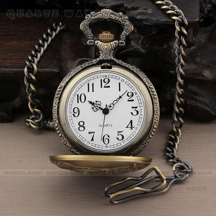 PQ060 High Quality Vintage Carriage Bronze Analog Quartz Casual Men s Pocket Watches Chain
