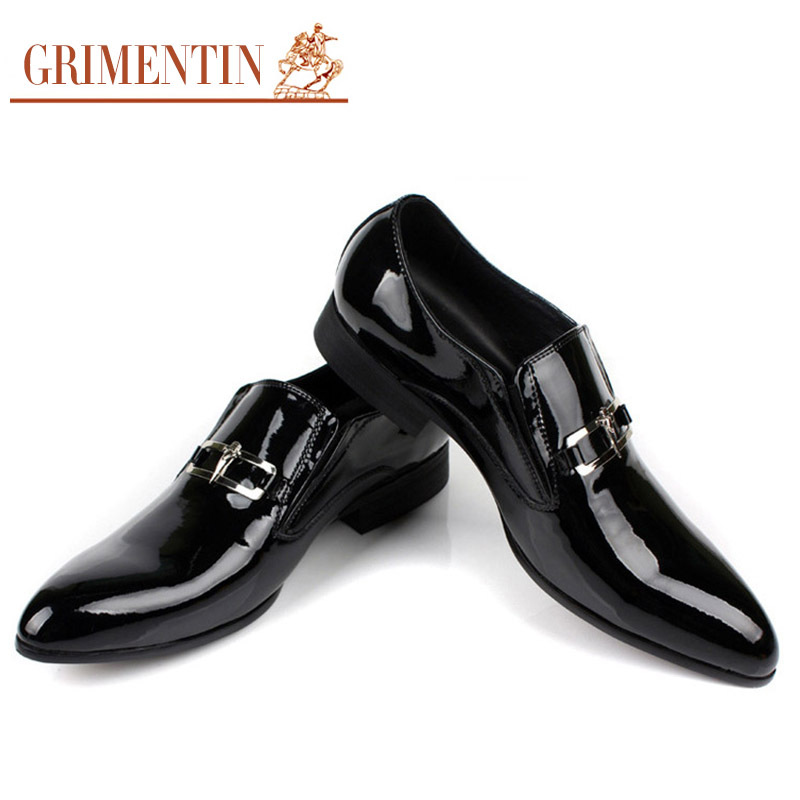 GRIMENTIN fashion Italian business patent genuine leather formal men dress shoes black wedding flats luxury male - store
