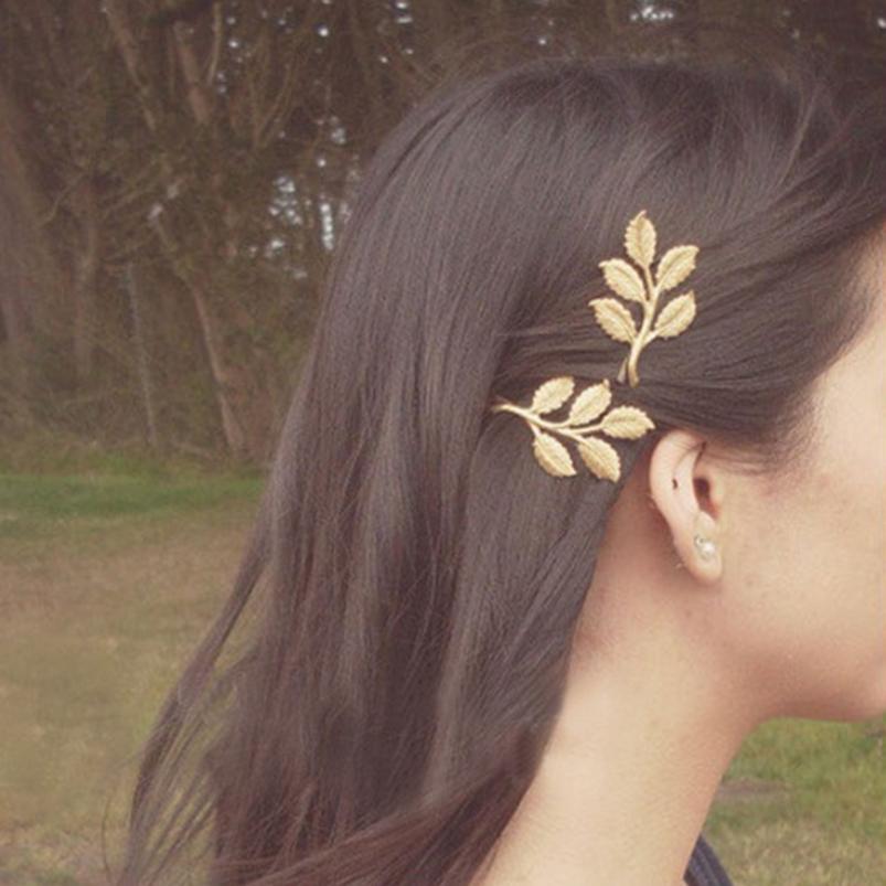 1Pc Women Fashion Lovely Leaves Golden Metal Punk Hairpin Hair Clip Headwear 1FC3(China (Mainland))