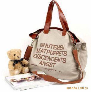 2015 korea new style women handbag,fashion English alphabet large one shoulde bag,canvas casual messenger bag,travel bags B107()