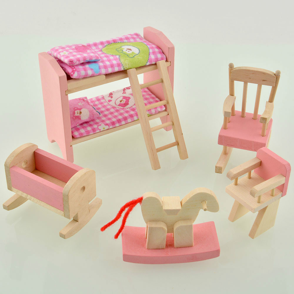 DIY Wooden Dollhouse Furnitures Toy Kids Pink Miniatures Furniture Small Dolls House Construction Toys GIrls play Houses(China (Mainland))