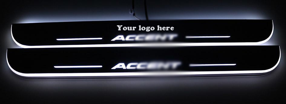 Car Styling Decorative Atmosphere Lamp for Hyundai ACCENT Led moving door scuff plate 2013-2016 front LED door sill(China (Mainland))