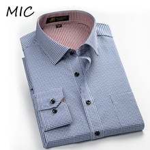 Free shipping 2015 new shirts for men men's spring casual grid stripe shirts High quality long sleeve dress shirt man big size