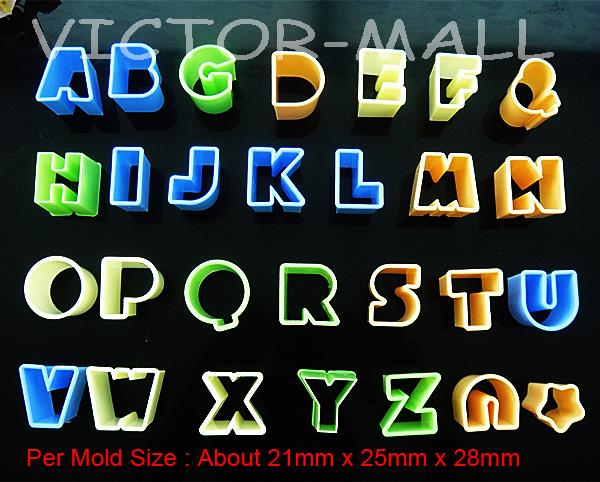30Pcs Letters Alphabet Mould Fondant Cookie Biscuit Chocolate Cake Mold Cutters cake decorating tools silicone mold(China (Mainland))