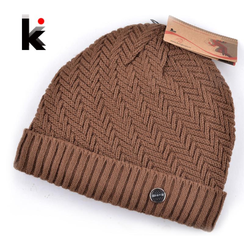 2016 winter beanie knitted wool hat plus velvet cap Thicker mens hats beanies for men bonnet 5 colors(China (Mainland))