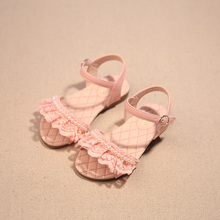 2016 children summer style open-toed sandals Girls princess pearl lace shoes kids flat Sandals babay Shoes wholesale tide(China (Mainland))