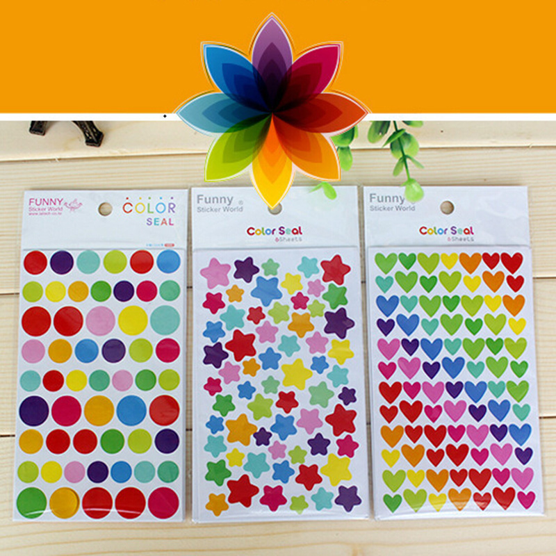 6pcs/lot diy accessories albums Colorful Rainbow Love Sticker Korean cute stickers album decoration 5zcx181(China (Mainland))