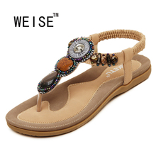 WEISE 2016 New Korean Comfort big size EU42-45 Women Sandals Bohemian Beaded Clip Toe Flat Shoes Sandals Shoes Student Shoes(China (Mainland))