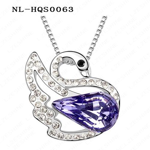 Big Sale Platinum Plating Austrian Crystal SWA Element Crystal Swan Pendant Necklace Mix Colors Options NL-HQS0063mix1(China (Mainland))
