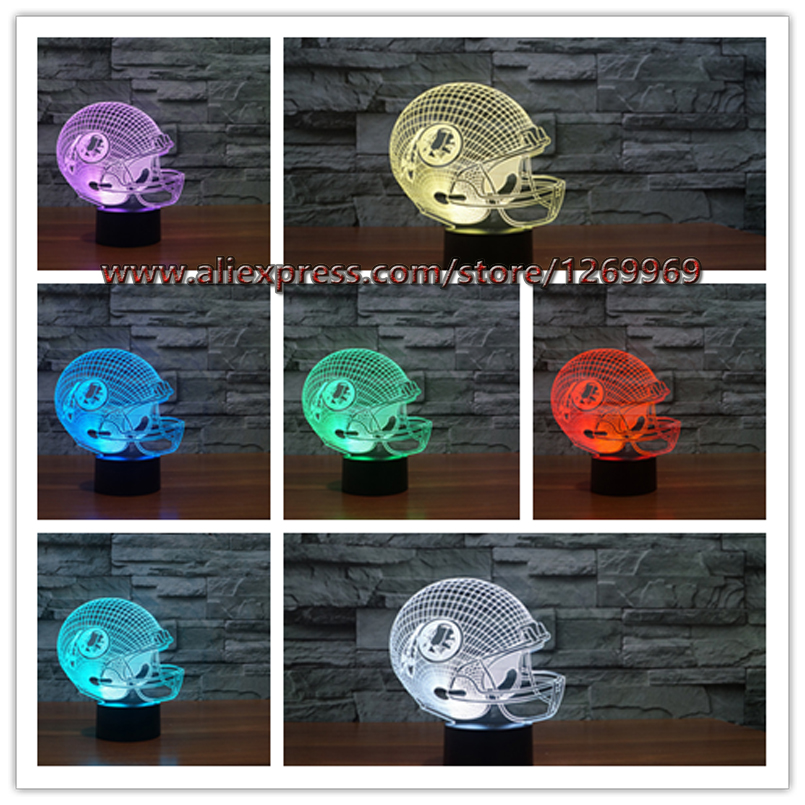 NFL Washington Redskins American Football Team Helmet 3D Night Light 7 Colors Change LED Table Lamp Xmas Gift Creative Lighting(China (Mainland))