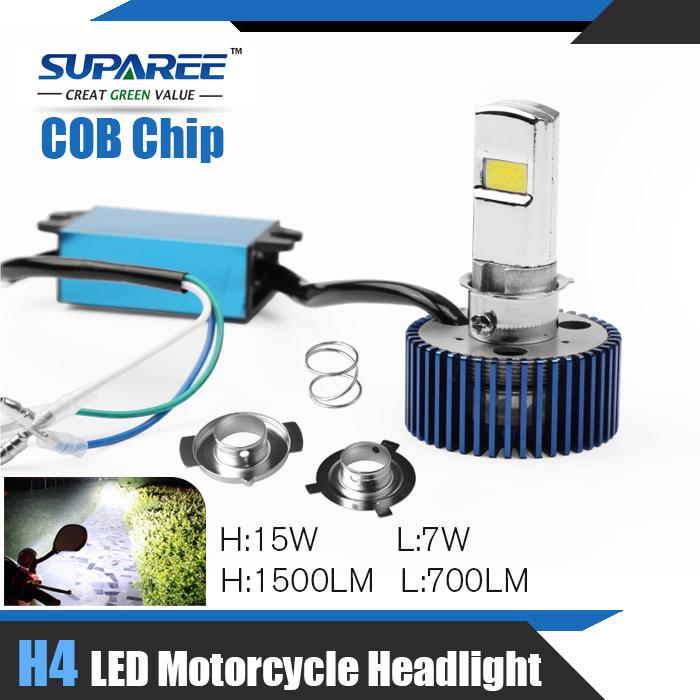 Free Shipping 1 Set H4 LED Motorcycle Headlight High Low Light Kit Moto Headlamp 1500LM 15W Fit for Kawasaki Suzuki Motorbike(China (Mainland))
