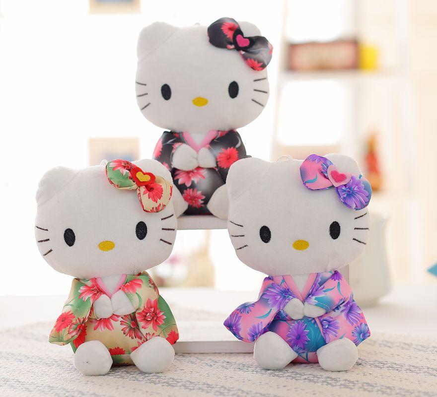 "9"" children girl Hello Kitty dolls Cute Hello kitty soft toy in kimono wear wedding accessories free shipping(China (Mainland))"