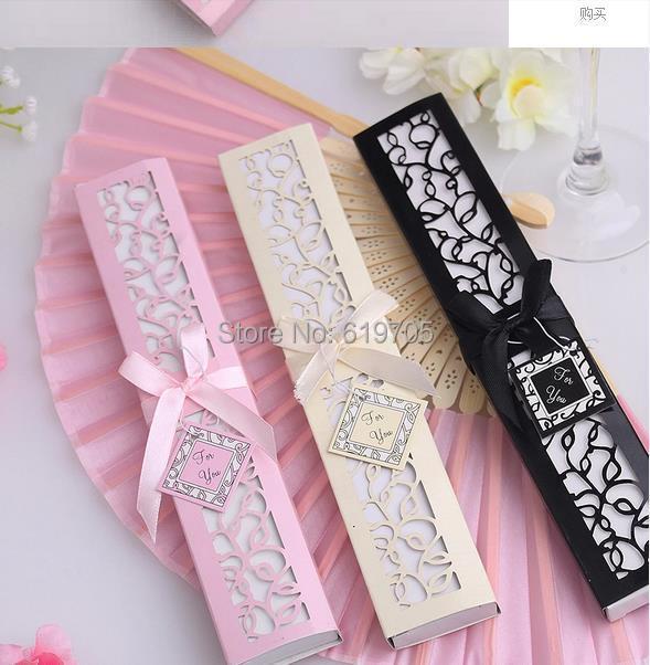 Free shipping personalized pink beige black Silk Fold hand Fan Elegant Laser-Cut Gift Box Wedding Party Birthday bridal favors(China (Mainland))