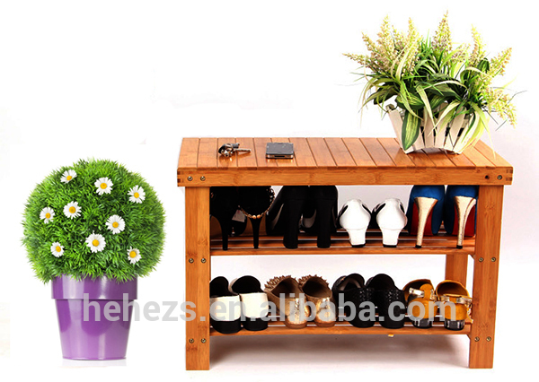 Eco friendly unique bamboo/wood shoe rack with seat(China (Mainland))