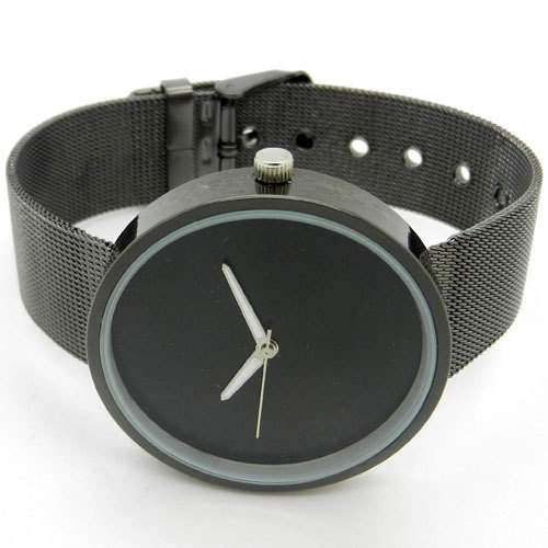 Simple Style Black Metal Iron Net Web Mesh Band Fashion Quartz Wrist Watch Hours Q1003(China (Mainland))
