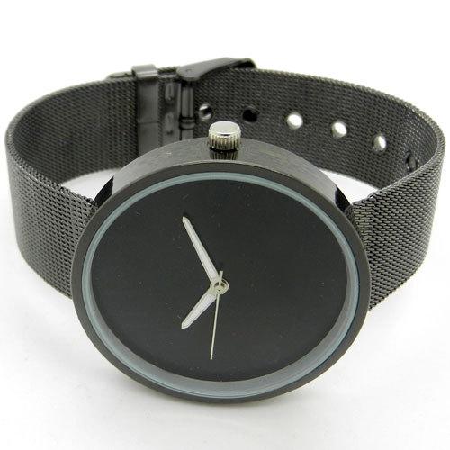 Simple Style Black Metal Iron Net Web Mesh Band Fashion Quartz Wrist Watch Hours Q1003(China (Mainland))