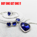 Fashion Heart of The Ocean Sapphire Jewelry Silver Plated Crystal Rhinestone Pendant Necklace Earring Ring Jewelry