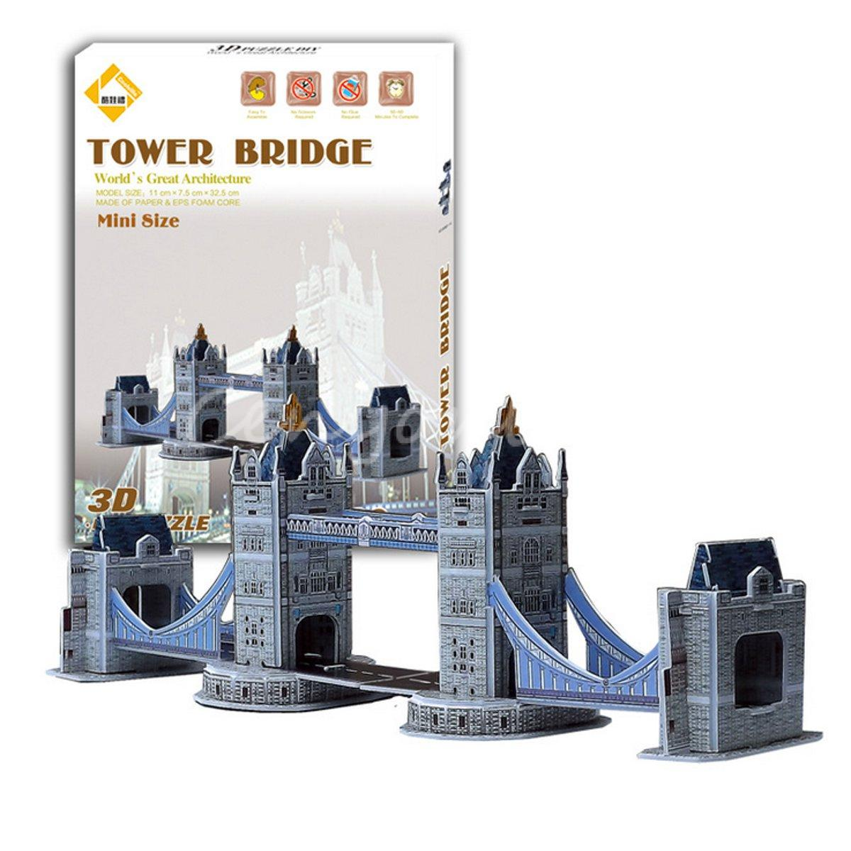 Top Quality Colourful Carboard Jigsaw Model 3D Puzzle Tower Bridge DIY Xmas Gift Toys for childrens day Learning Education(China (Mainland))