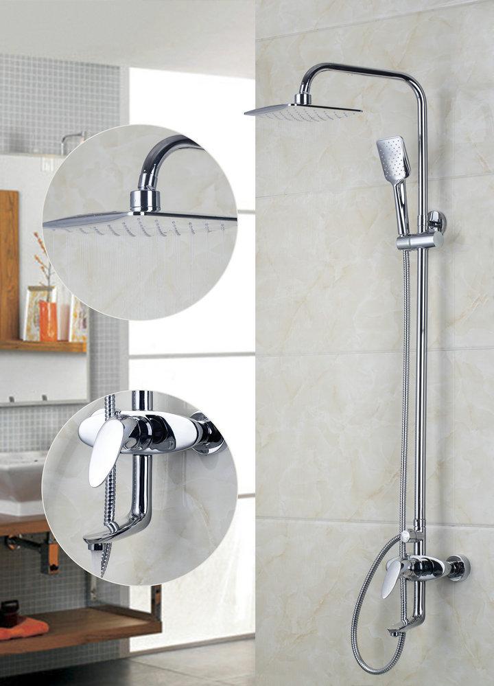 "53702 200mm New Chrome Brass Water Pressure Boosting Bathroom Rain 8"" Shower Mixer Tub Faucet Shower Set(China (Mainland))"