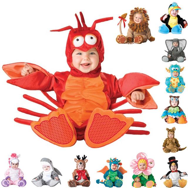 Новое Прибытие Младенца Высокого Качества Мальчики Девочки Хеллоуин Костюм Динозавров Ползунки Дети Комплект Одежды Малыша Co-splay Triceratops